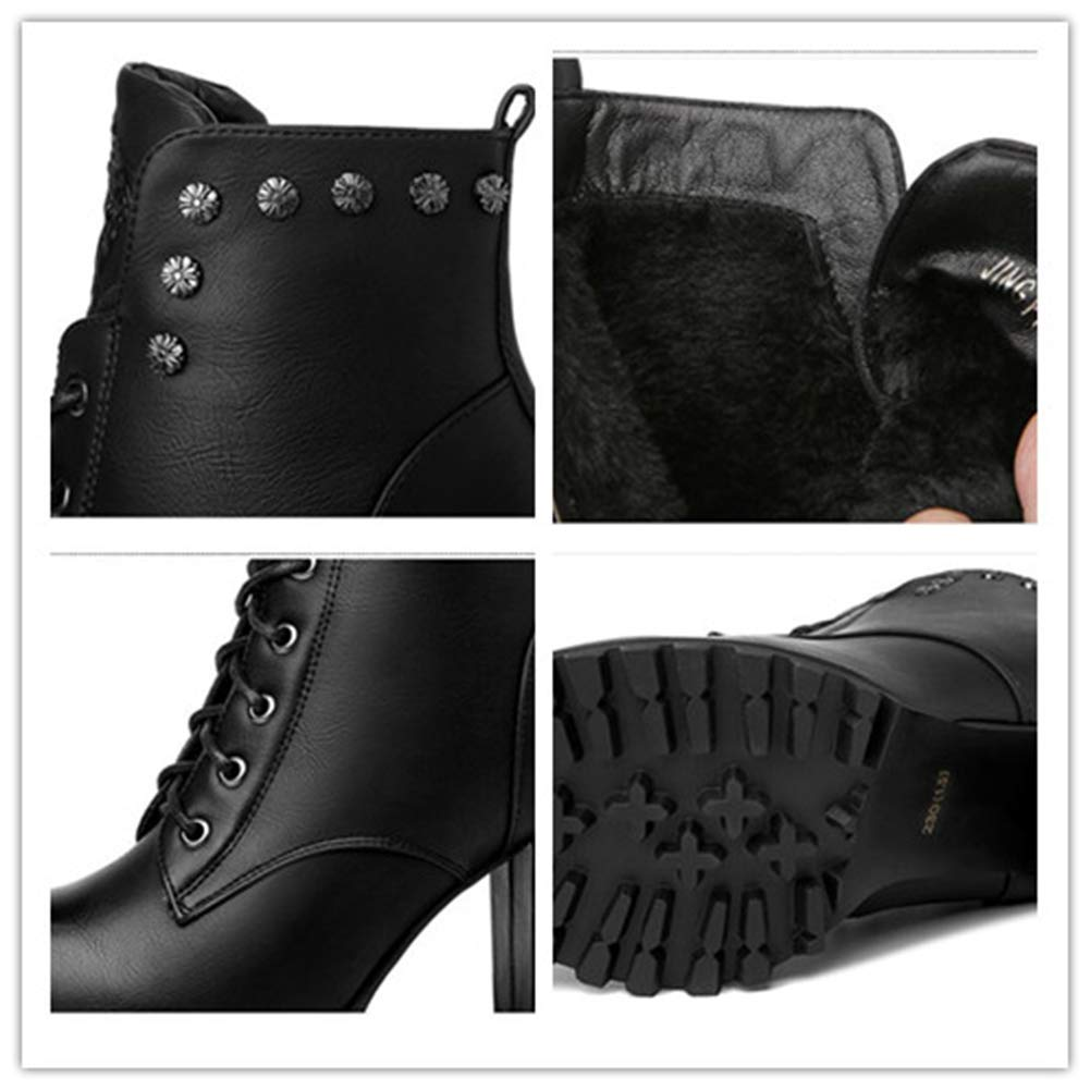 He-yanjing Damen-Lederstiefel, britische britische britische Art Damenschuhe Herbst-Winter-Mode Martin-Stiefel Dicke Sohlen und hochhackige Stiefel (Farbe   EIN, Größe   38) eeff76