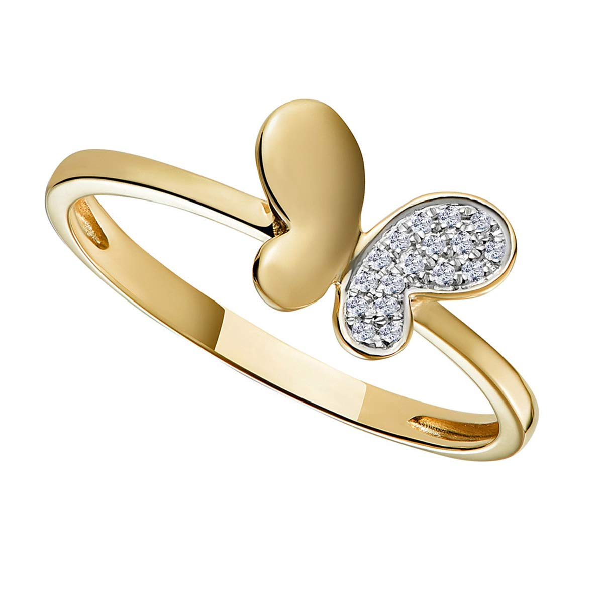 Krivox 0.25 ct Round Cut Simulated Diamond 14k Yellow Gold Finish Butterfly Shape Engagement Ring for Womens