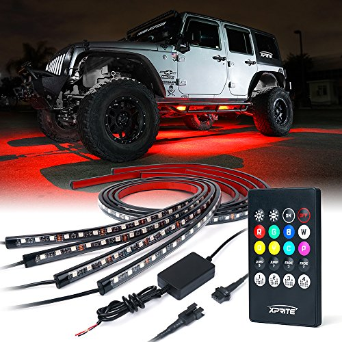 Xprite Car Underglow Underbody System Neon Strip Lights Kit w/ Sound Active Function and Wireless Remote Control 5050 SMD LED Light -