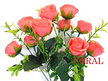 Amazon 2 bushes small rose buds 10 artificial silk flowers 13 2 bushes small rose buds 10 artificial silk flowers 13quot bouquet 5036 coral mightylinksfo