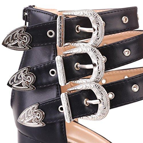 Cuir Brides Simili la en de 3 Sandales Ajustables Noir avec Boucles Western Cheville à La munies Modeuse xw8SpInTqW