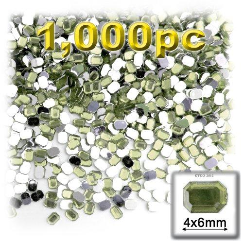 長方形の八角形Craftsコンセント1000-pieceアクリルアルミ箔フラットバックラインストーン、4by 6mm、オリーブグリーンの商品画像