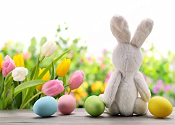 leowefowa 7x5ft happy easter day backdrop colorful eggs hunt backdrops for photography lovely bunny fresh flowers