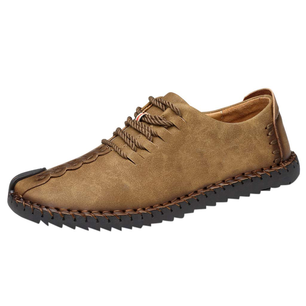 Lloopyting Men's Business Retro Solid Color Breathable Casual Shoes Leather Non-Slip Shoes with Wear-Resistant Flat Shoes Khaki