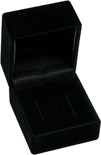 Samt Ring Ohrring Schmuckschachtel Etui Schmuckkästche Schmuckbox Schwarz Neu