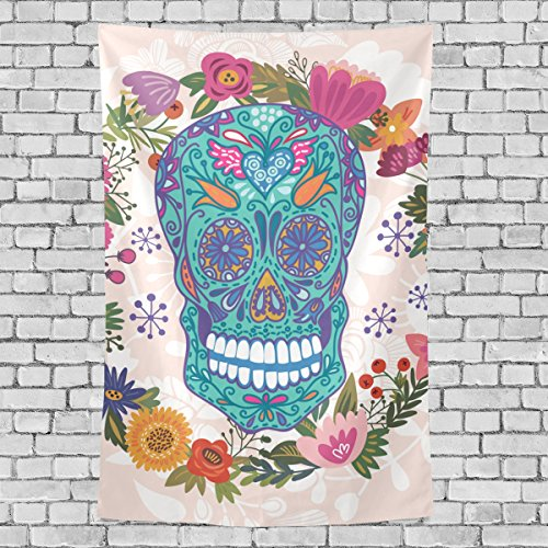 8' Wool Purse (Home Decor Sugar Skull Dia De Los Muertos Tapestries Hanging Bedroom Living Room Decorations Polyester Tapestry Wall Art 60X51 Inches)