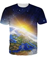 Men Summer T Shirt Camisetas Hombre Earth/Sun/Space Galaxy 3D Printed T-