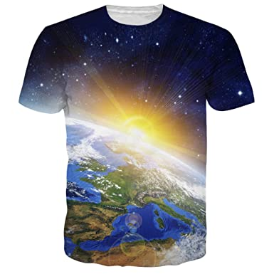 Men Summer T Shirt Camisetas Hombre Earth/Sun/Space Galaxy 3D Printed T-