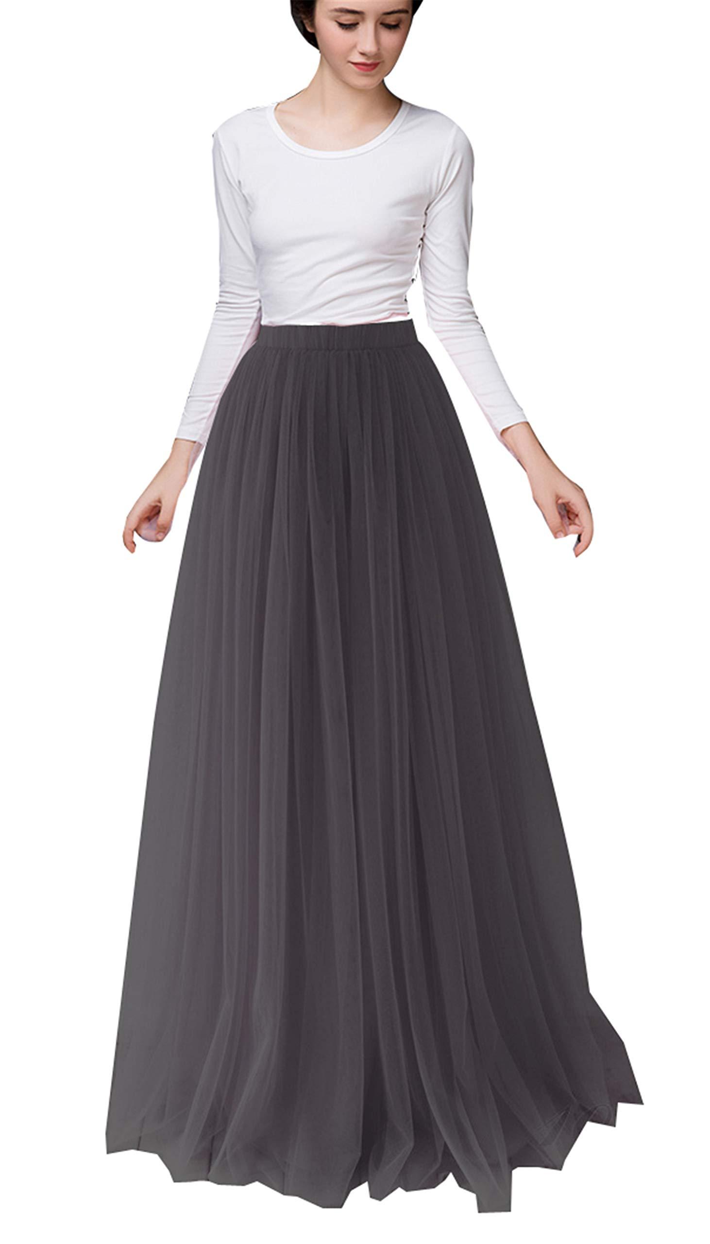 Uswear Women Long Tulle Skirt Dress Floor Length for Wedding Bridal Bridesmaids High Waisted Maxi Tutu Party Dress (Black, Waist:65-95cm)
