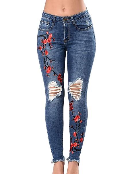 Targogo Pantalones Vaqueros para Mujer Pantalones Bordados ...