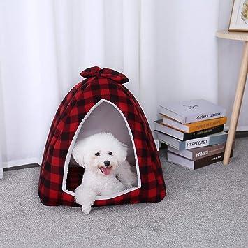 Ohana Plaid Igloo Cama de Gato Polar pequeño Perro casa Cama Elegante pirámide Cueva Cama para Cachorro y Gatito Rojo: Amazon.es: Productos para mascotas