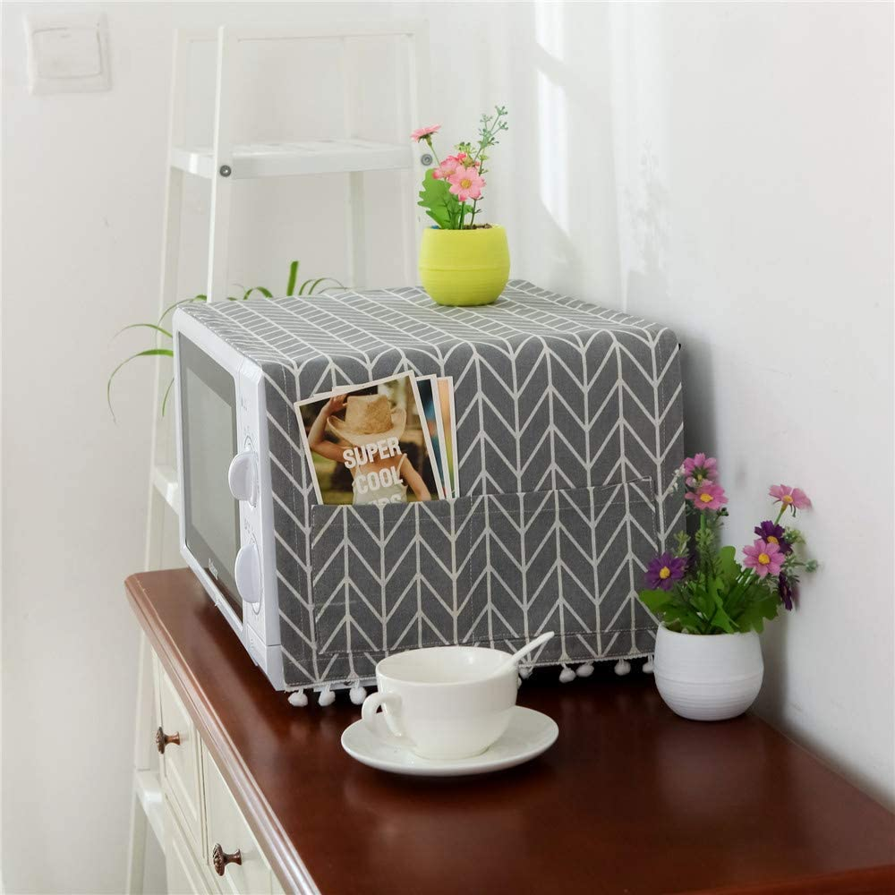 Microwave Oven Cover Dustproof Electric Oven Cover Toaster Cover Dust Oil Proof Protection with Side Storage Pockets A