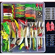 275pcs Fishing Lures Set Includes Frog Lures Soft Fishing Lures Hard Metal Lures VIB Rattle Crank Popper Minnow Jig Metal Jig Hooks for Trout Bass Salmon with Free Tackle Box