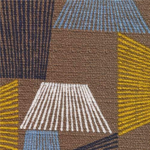 Barkcloth Cotton - brown Barkcloth cotton fabric with trapezoid shapes (per 0.5 yard unit)
