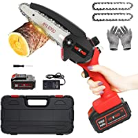 Upgrade 6-Inch Mini Cordless Chainsaw, Handheld Electric Pruning 3000mAh Chain Saw W/Oil Hole & Safe Trigger, Portable…