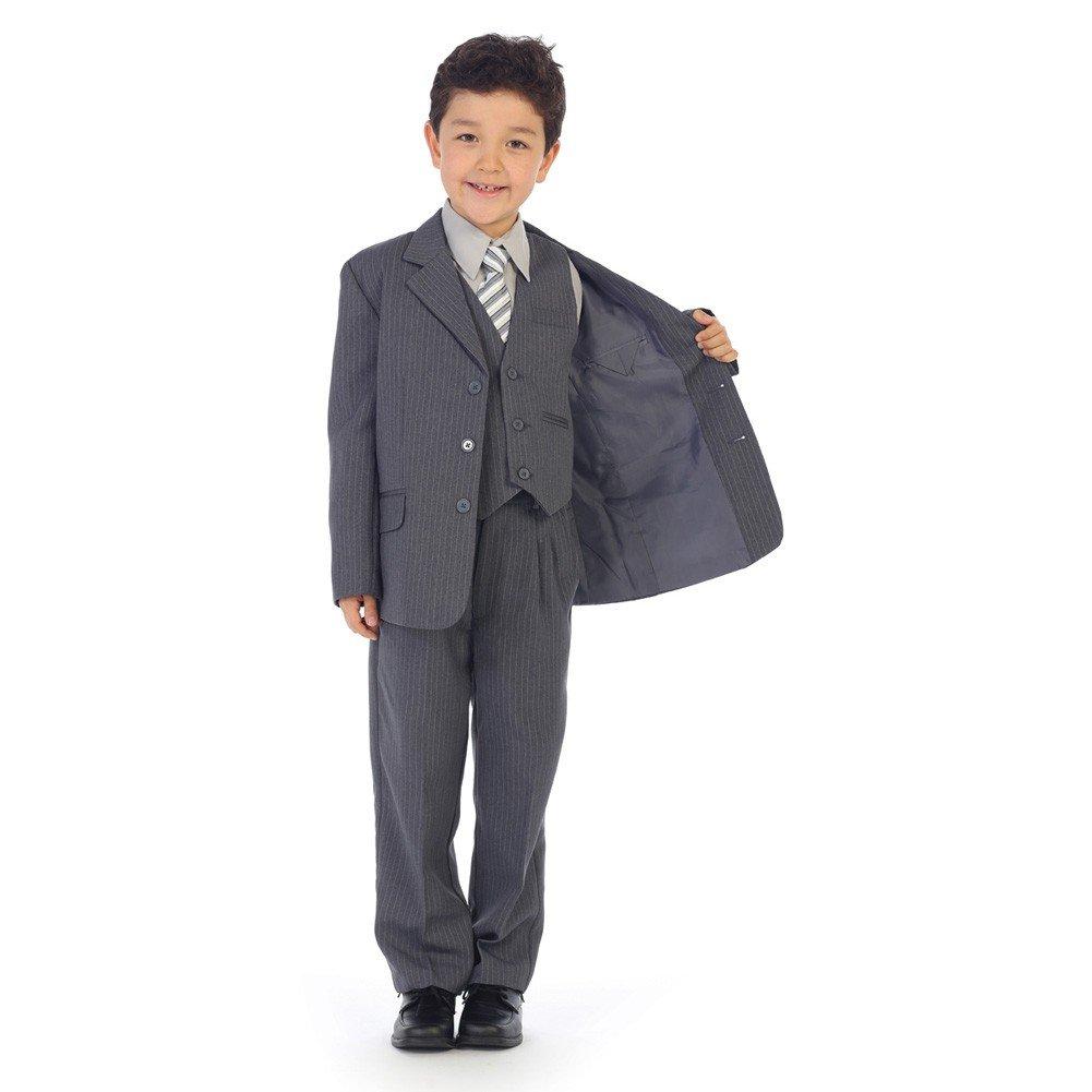 Angels Garment Little Boys Gray Pinstripe Jacket Pants Vest Shirt Tie Suit 2-7