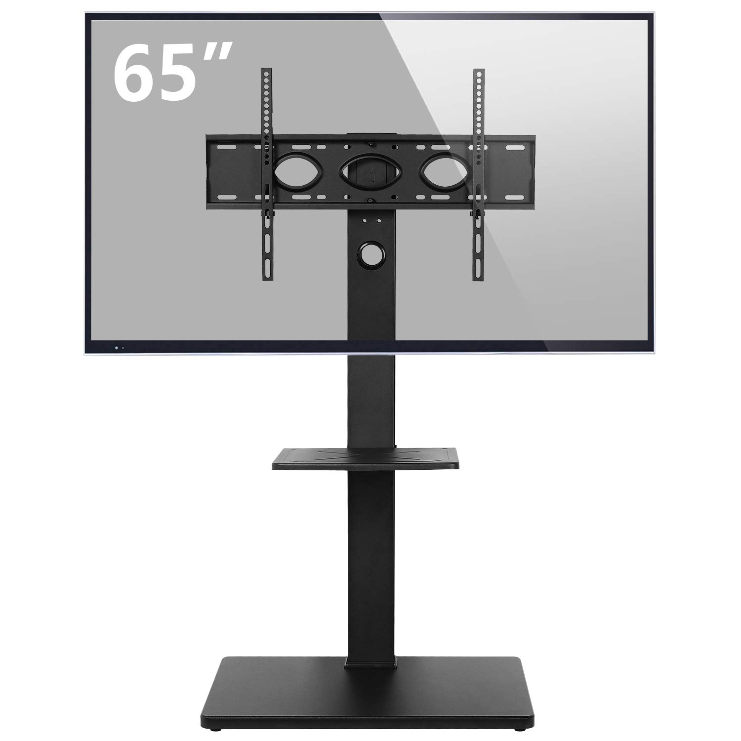 Rfiver Universal Swivel Floor TV Stand for most 32''-65'' Flat/Curved Screen TVs, 6 Levels Height Adjustable and Internal Cable Management, One-Piece Integral Metal Support Pole for Sturdy, Black TF1001 by Rfiver