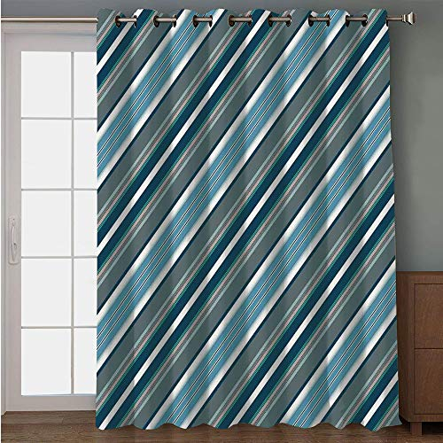 Hoop Diagonal (iPrint Blackout Patio Door Curtain,Striped,Navy Retro Style Diagonal Stripes Pattern Modern Design Home Decorations Image,White Grey Navy,for Sliding & Patio Doors, 102
