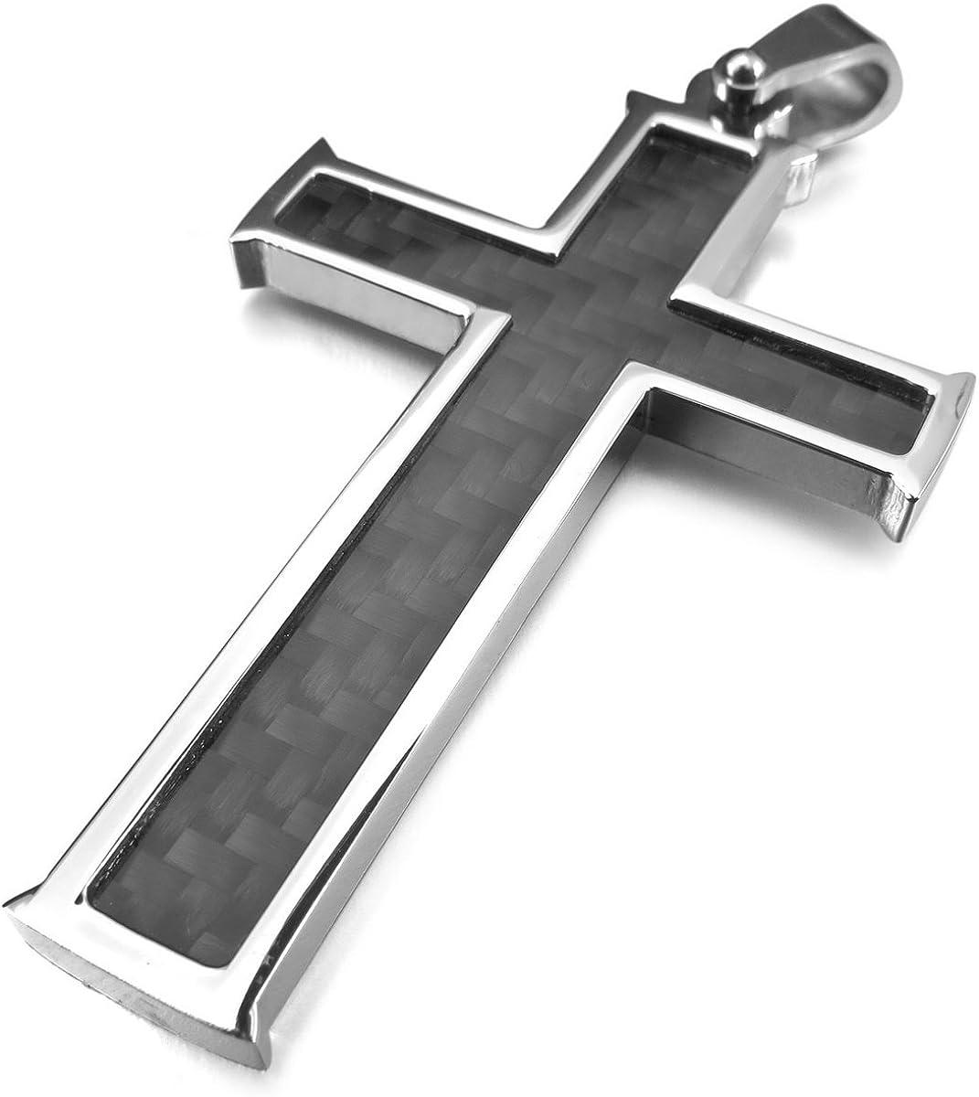 BESTEEL Acier Inoxydable Collier en Fiber de Carbone Croix pour Hommes Pendentif Croix Chaîne Collier Religieux 56-76 CM 61 CM N039-L61