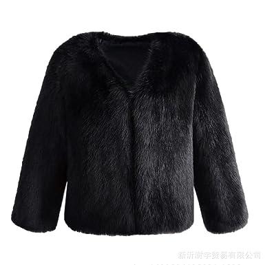 Zerorun Women's Faux Fur Coat Long Sleeve Winter Warm V-neck ...