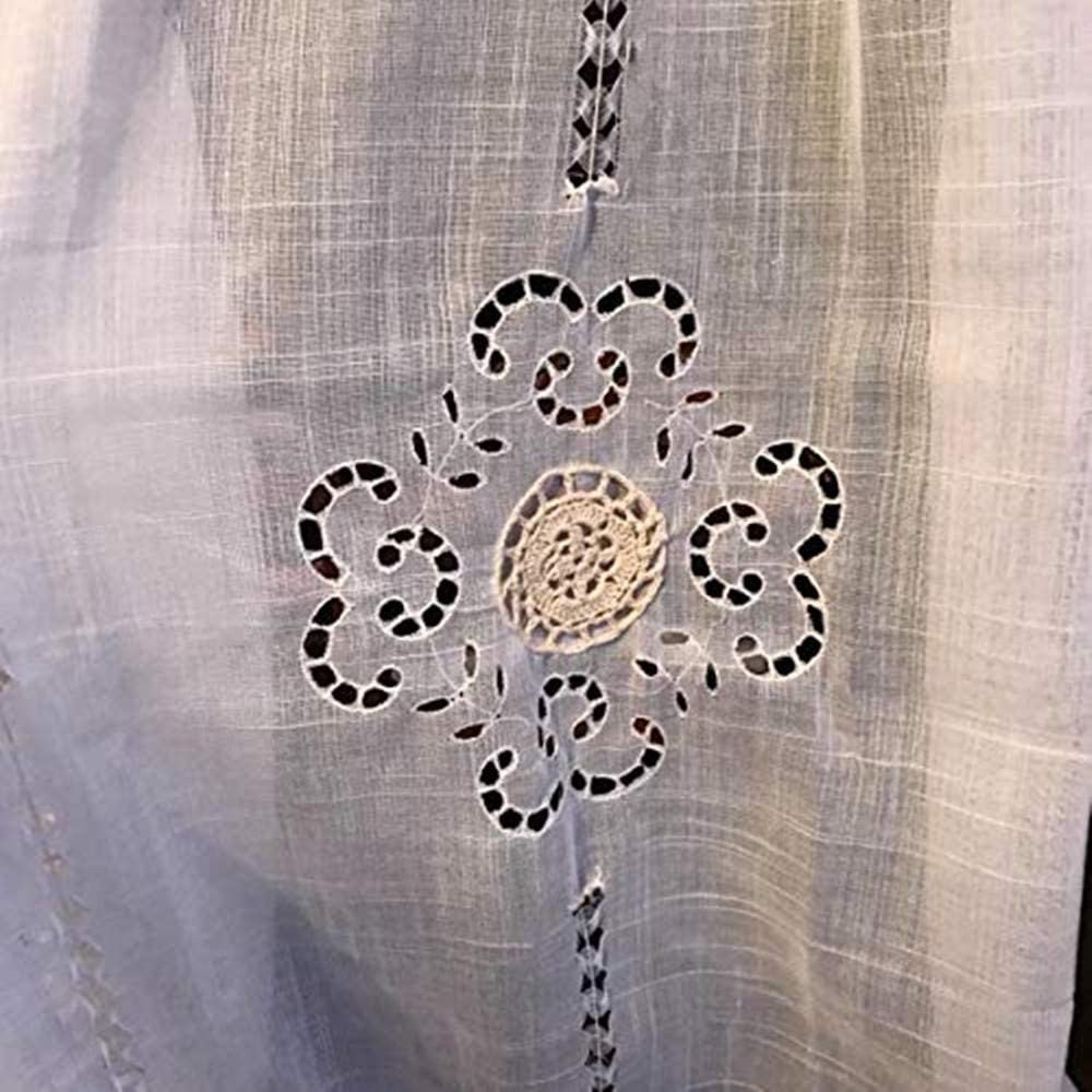 White Trim Blue Round Floral Embroidered on White Lace Sheer Velet Rod Pocket