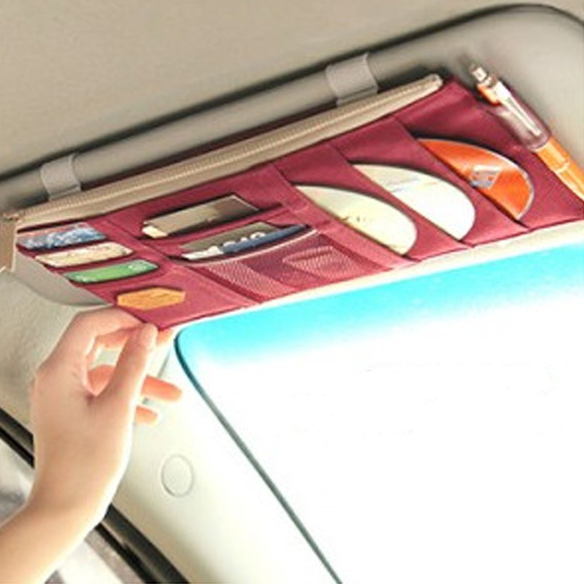 Mily Multi-purpose Car Visor Organizer, Sun Shade CD Holder Card Storage Pouch Bag Wine Red