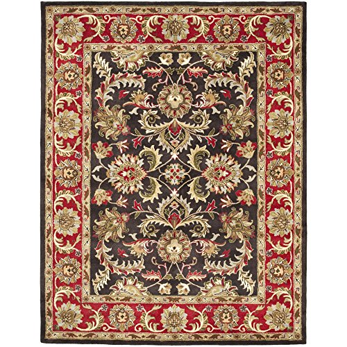 Safavieh Heritage Collection HG951A Handcrafted Traditional Oriental Chocolate and Red Wool Area Rug (7'6