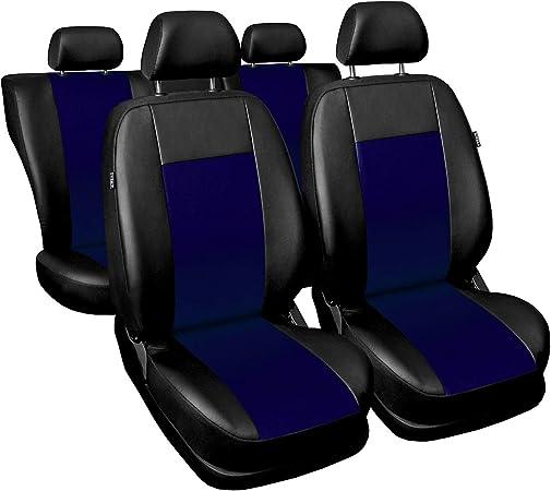 3er Set Saferide Autositzbezüge Pkw Universal Auto Sitzbezüge Kunstleder Blau Für Airbag Geeignet Für Vordersitze Und Rückbank 1 1 Autositze Vorne Und 1 Sitzbank Hinten Teilbar 2 Reißverschlüsse Auto