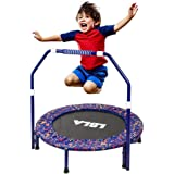 36-Inch Kids Trampoline Little Trampoline with Adjustable Handrail and Safety Padded Cover Mini Foldable Bungee Rebounder Tra