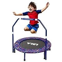 LBLA Kindertrampolin, Trampolin, mit verstellbarem Handlauf und Gepolsterter Abdeckung Mini Faltbarer Bungee Rebounder, Innen- / Außentrampolin Maximale Gewicht Beträgt 132 lbs