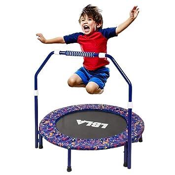 LBLA Trampoline, trampolín para niños con pasamanos ajustable y funda acolchada de seguridad Mini bungee Rebounder plegable Trampolín para interiores ...
