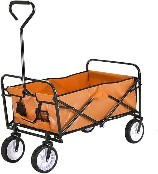 Ruication - Carrito de jardín Plegable con Ruedas, 100 kg, Color Naranja: Amazon.es: Jardín