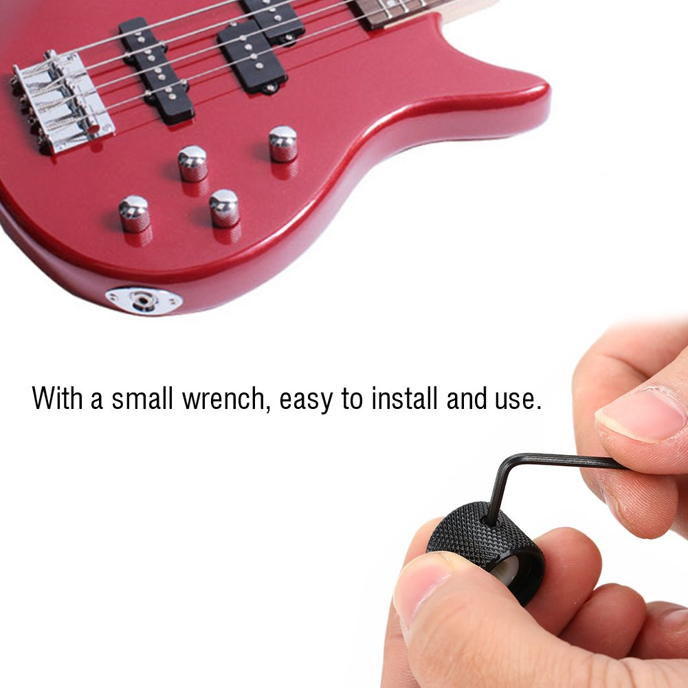 4 Piezas Tono de Volumen Perillas de Control de Velocidad de Guitarra Material de Metal con Llave Accesorio de reparaci/ón de Guitarra VGEBY1 Perilla de bajo de Guitarra