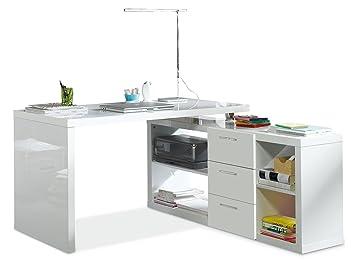 Eckschreibtisch weiß hochglanz  Eckschreibtisch Schreibtisch Computertisch Arbeitstisch TECHNO ...