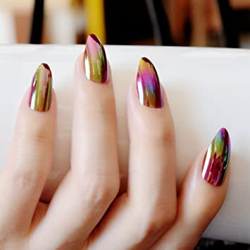 CoolNail Holographic Rainbow Stiletto Fake Nails Mirror Chrome Gold Rose Color False Nail Full Cover Magic