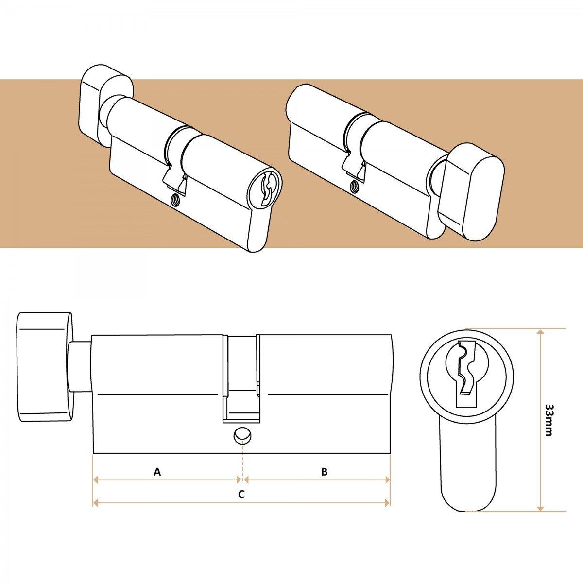 T/ürschloss Zylinderschloss Profilzylinder Schlie/ßzylinder inkl 35 x 60mm 3 Schl/üsseln