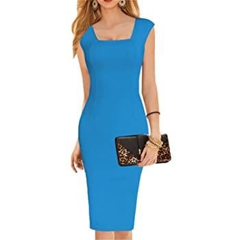 Women Summer Style Dress Sexy Knee Length Short Sleeve Bodycon Slim Pencil Solid Office Dress Blue