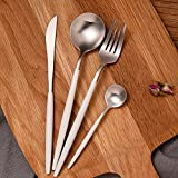 Elome Flatware Set, Stainless Steel Cutlery set, Vintage Design Cutlery for Home Kitchen Restaurant Hotel White & Silver in Gift Box