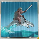 Pictures Of Funny And Happy Bear Riding A Shark Shower Curtain Designed 6072 100 Polyester