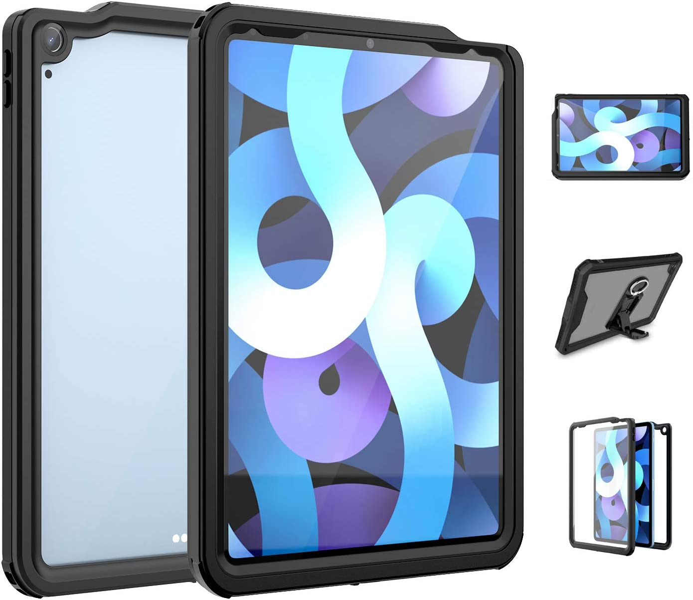 Ezanmull iPad Air 4 / 4th Generation Case 10.9 Inch 2020 Waterproof Shockproof, with Screen Protector, Kickstand and Strap, Full Protective Heavy Duty Rugged Cover for iPad Air 4 10.9 Inch