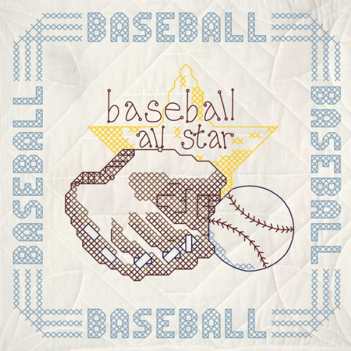 Baseball Embroidery Designs - Fairway Needlecraft 91108 Quilt Blocks, Boy'S Baseball Design, White, 6 Blocks Per Set