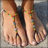 SunSandals Barefoot Sandals Foot Ankle Jewelry Anklets - Rasta - Large
