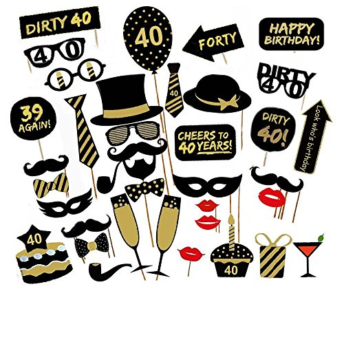 Losuya 40th Birthday Party Photo Booth Props 36pcs DIY Set Funny Photobooth Prop for Unisex 40th Birthday Celebration (Of Th Photo)