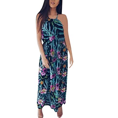 cad400293699 Women's Casual Dresses, Summer Sleeveless Boho Floral Print Long Dress  Loose Holiday Beach Sundress for Ladies Teen Girls Holiday Sexy Backless Maxi  Dress ...