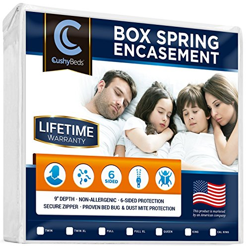 Premium Box Spring Encasement Zippered Cover by CushyBeds - Bed Bug, Dust Mites & Allergy Proof - 100% Waterproof, Hypoallergenic, 6-Sided Protection - Queen Size - (Fitted 7-9
