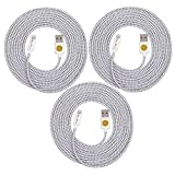 High Quality, 10ft(3m) Braided Nylon Lightning Charging Cables for Apple iPhone 5 5C 5S,iPhone 6, 6 Plus, iPad 4 Mini, iPod Touch 5/Nano 7, 8 pin to USB - 3pack -white