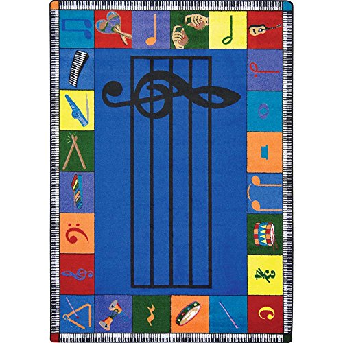Joy Carpets Kid Essentials Music and Special Needs Elementary Note Worthy Rug, Multicolored, 5'4