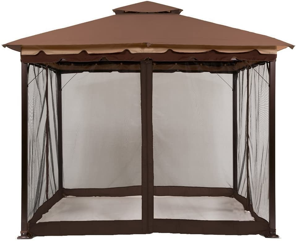 ABCCANOPY Gazebo Mosquito Netting Screen Walls for 10' x 12' or 11'x 14' Gazebo Canopy (Only Screen Wall,Brown)