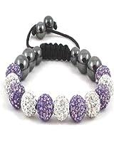 11-Ball Purple Lotus & White Shamballa Bracelet with Purple Crystals on White string