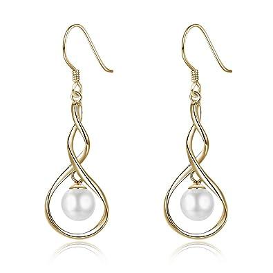892147b07088 BODYA Perla blanca en plata de ley 925 - Pendientes largos - Perlas  cultivadas de agua dulce - Joyería de perlas